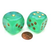 Chessex Borealis 30mm Large D6 Dice, 2 Pieces - Light Green with Gold Pips #DB3025
