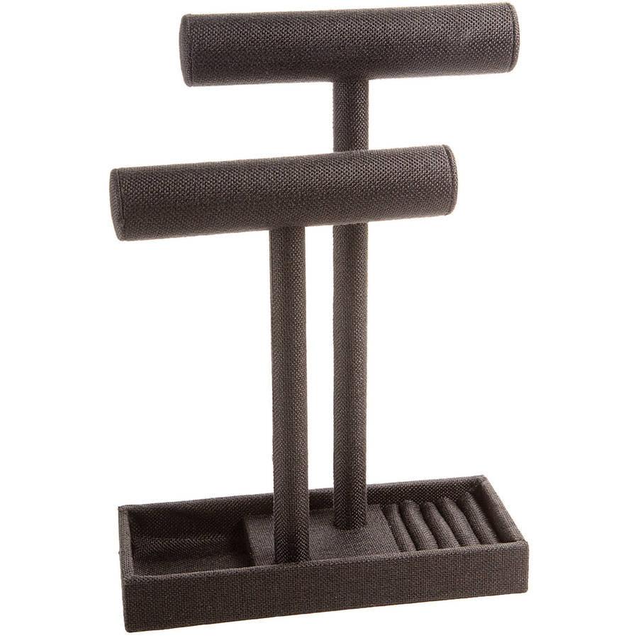 Burlap Jewlery Displays: Double Bracelet Bar with Ring Storage, Black
