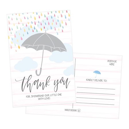 50 4x6 Rain Umbrella Blank Thank You Postcards Bulk, Cute Modern Sprinkle Baby Shower Rainbow Showered With Love Thank You Note Card Stationery For Wedding Bridesmaid Bridal, Religious, - Wedding Shower Thank You Cards