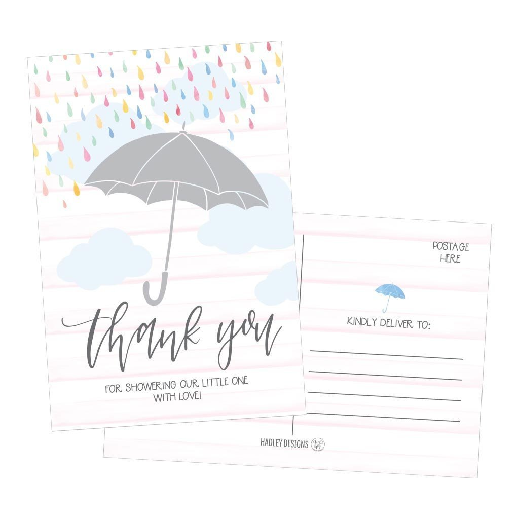 50 4x6 Rain Umbrella Blank Thank You Postcards Bulk, Cute Modern Sprinkle Baby Shower Rainbow Showered With Love Thank You Note Card Stationery For Wedding Bridesmaid Bridal, Religious, Holiday