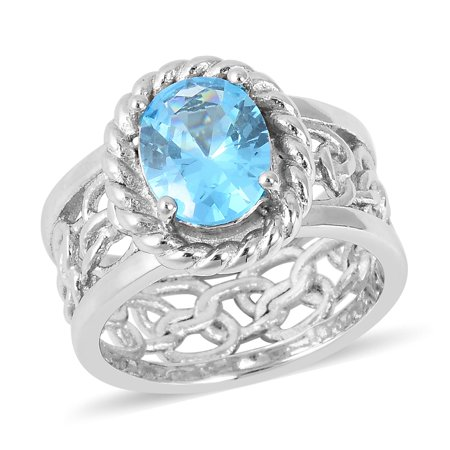 Stainless Steel Cubic Zircon CZ Blue Topaz Solitaire Ring for Women Jewelry Gift