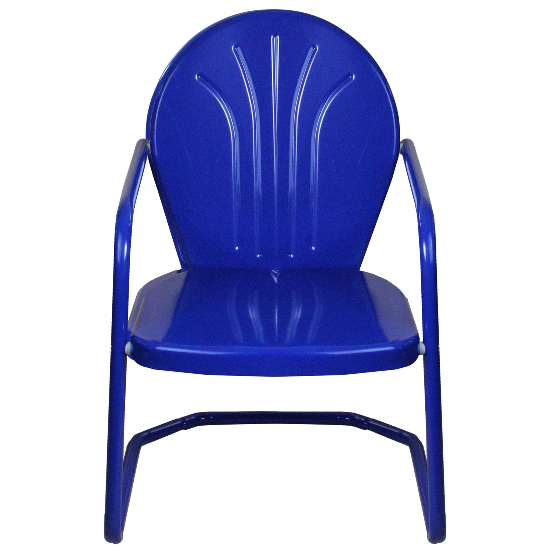 Beau Retro Style 34 Inch Outdoor Metal Tulip Chair, Electric Blue   Walmart.com