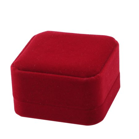 Wedding Velvet Square Jewelry Necklace Bracelet Ring Storage Box Case Dark Red ()