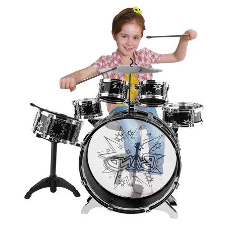 Best Drum Set 6 Pieces 23 Inch Kids Junior Drum Set Complete Bass Drum Snare Drum Tom Drum Hi-Hat Drumsticks deal