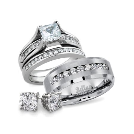 His And Hers Anium Stainless Steel Cz Bridal Matching Wedding Rings Set Free Sterling Silver Earrings Women S Size 05 Men 13