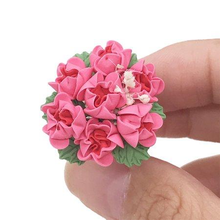 Tuscom Mini Dollhouse Miniature Green Plant Rose in Pot Fairy Garden Accessory