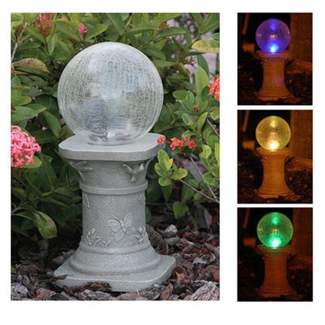 Chameleon Crackled Glass Solar Gazing Ball by GrillsGoneWild