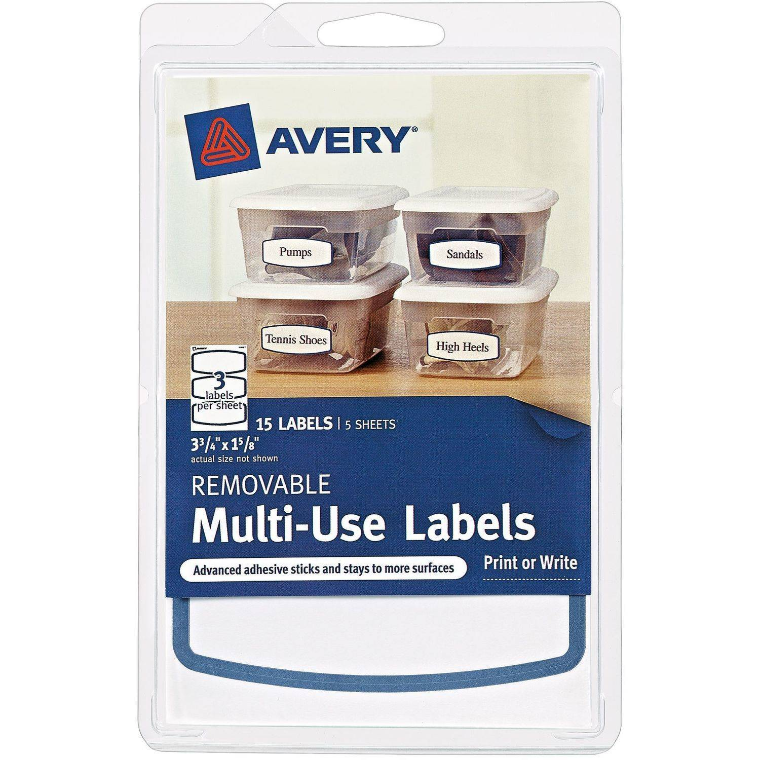 """(4 Pack) Avery(R) Removable Multiuse Labels 41445, Blue Border, 3-3/4"""" x 1-5/8"""", Pack of 15"""