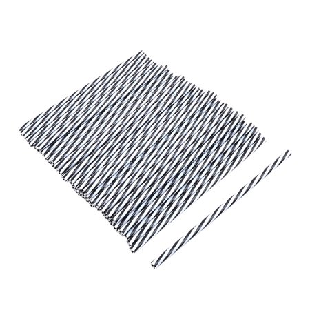 Party PP Diagonal Stripe Pattern Beverage Drinking Straws 50ct](Black And White Straws)