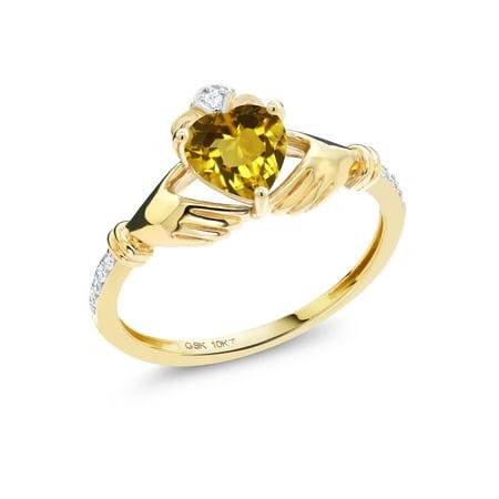 0.76 Ct Heart Shape Yellow Citrine Diamond Accent 10K Yellow Gold Ring