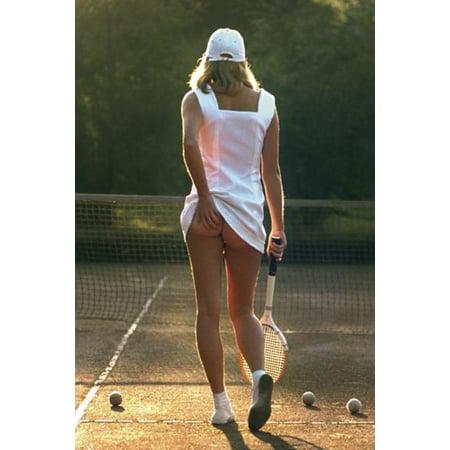 Tennis Girl White Dress Racket Bare Bottom Sexy Photograph Photo Poster 24X36 Inch