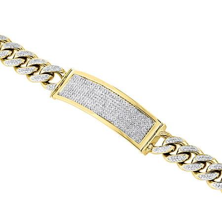 9e0791dd89b3d 10K Yellow Gold Solid Miami Cuban Link Bracelet Pave Diamond ID 8.50