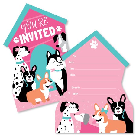Pawty Like a Puppy Girl - Shaped Fill-In Invitations - Pink Dog Baby Shower or Birthday Party Invitation Cards with ()