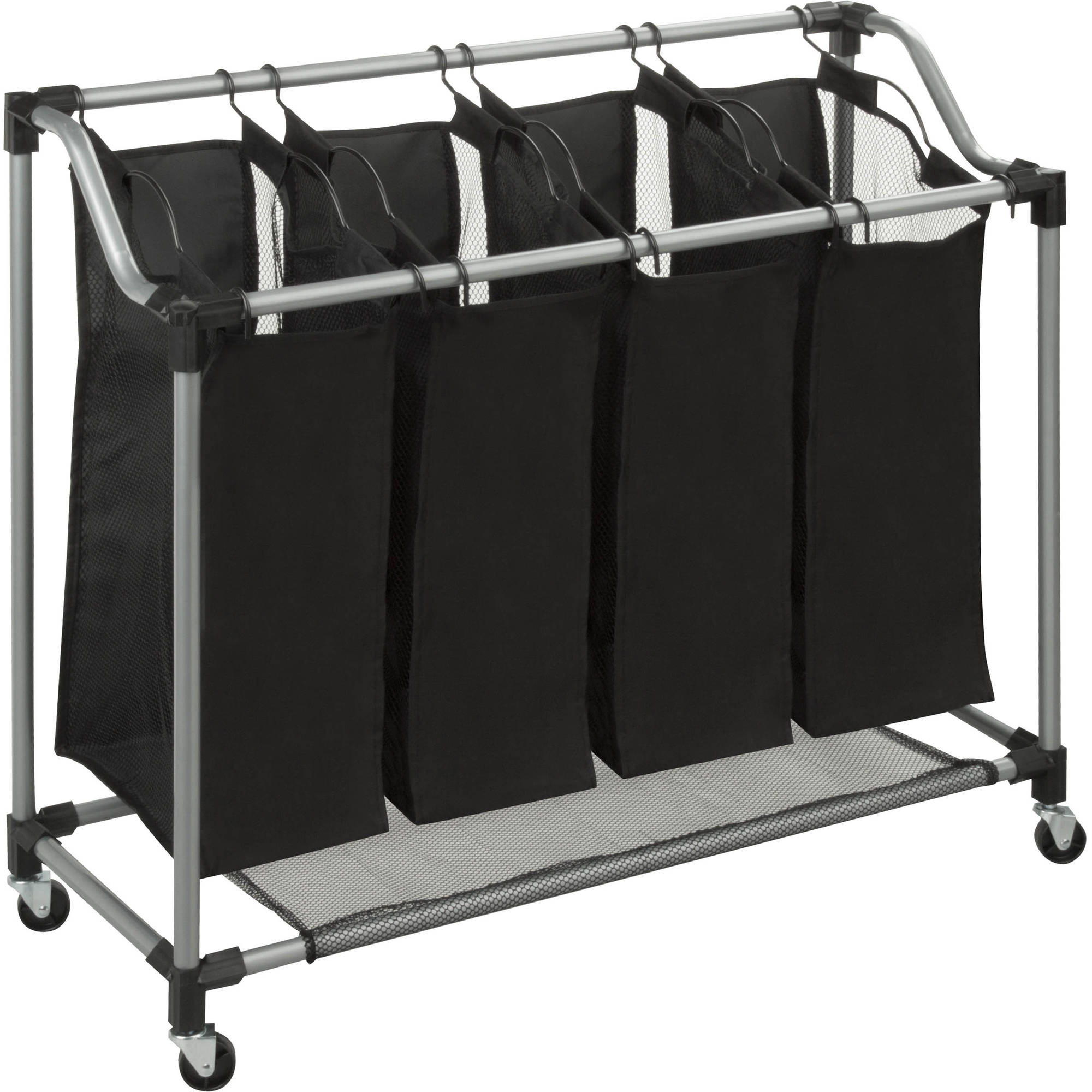 Honey Can Do Deluxe Quad Laundry Sorter with Removabler Bags, Black/Gray