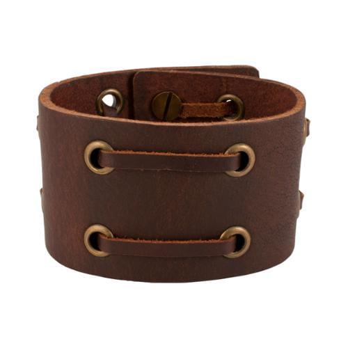 Napoli Leather Distressed Vintage Italian Leather Bracelet Unisex, BROWN, 7BR