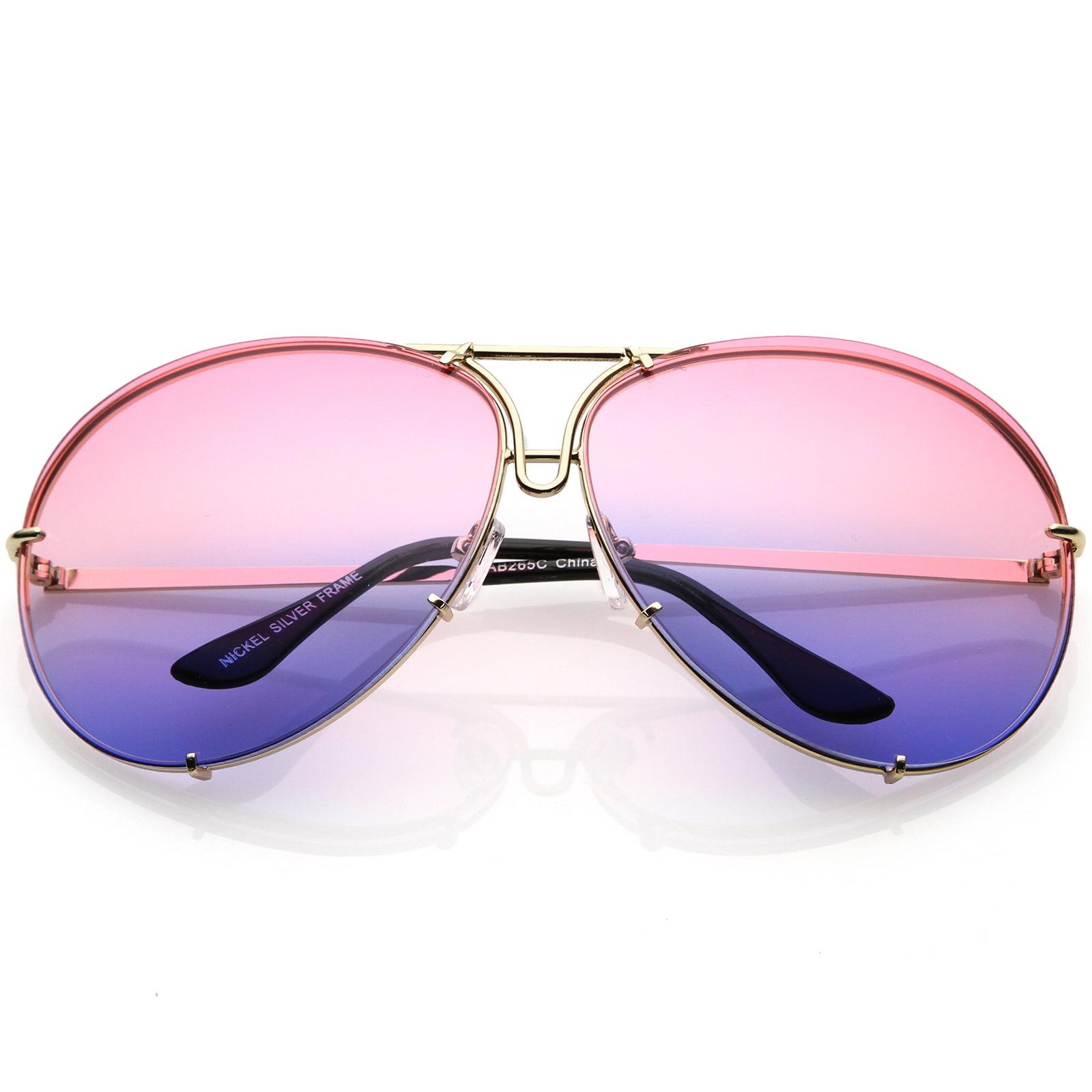 b25a8f14378b sunglassLA - Oversize Aviator Sunglasses Slim Metal Arms Color Tinted  Gradient Lens 68mm (Gold   Pink Blue) - Walmart.com