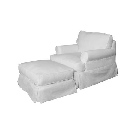 Chair And Ottoman Slipcover (Sunset Trading SU-117620-30-391081 Horizon Slipcovered Chair & Ottoman, Peyton Pearl )