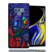 MUNDAZE Samsung Galaxy Note 9 Purple Red Oil Paint Design TPU Gel Phone Case Cover