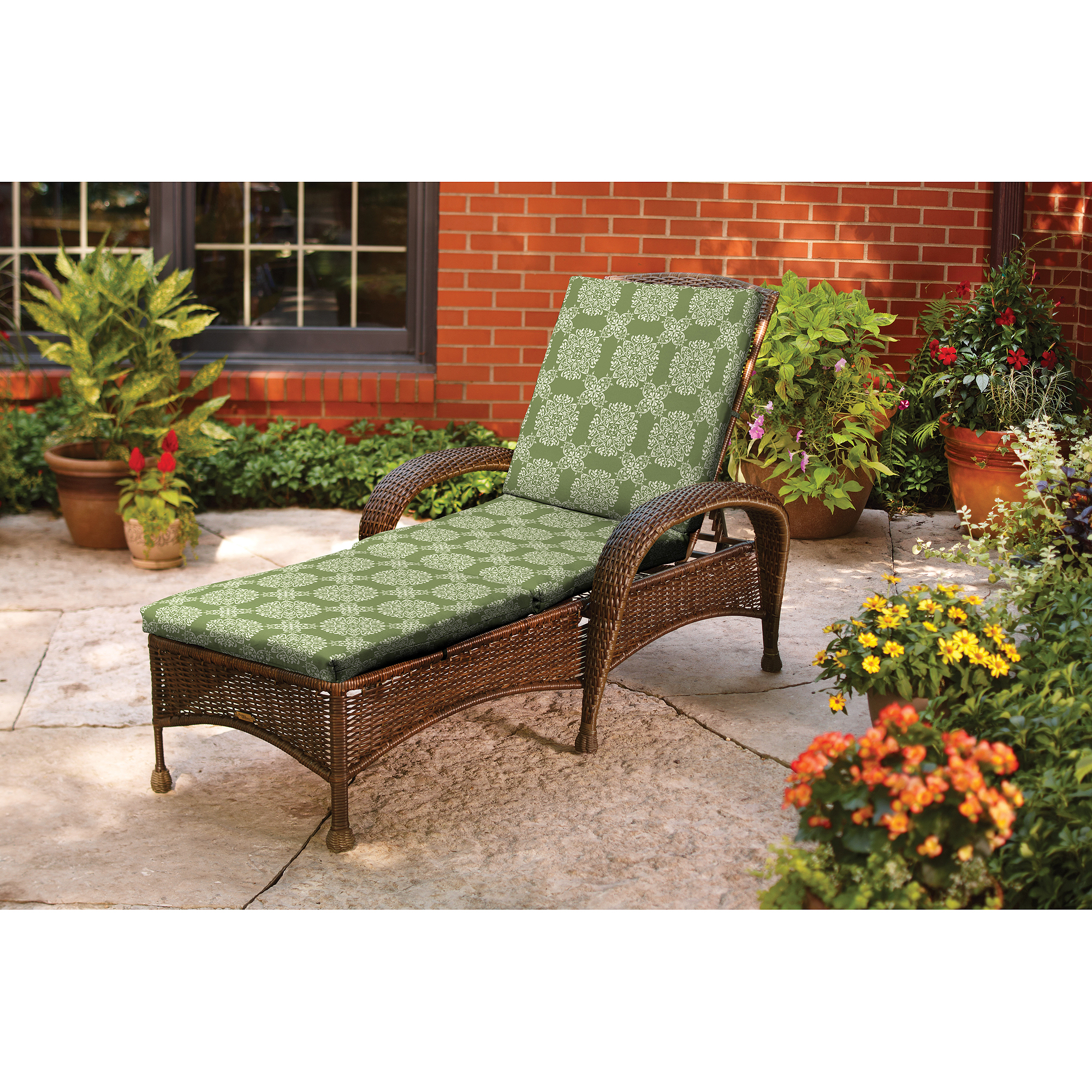 Better Homes And Gardens Chaise Cushion, Green Tulip Medallion   Walmart.com