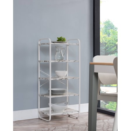Liese 5 Tier Free Standing Kitchen Bakers Rack White Metal Frame