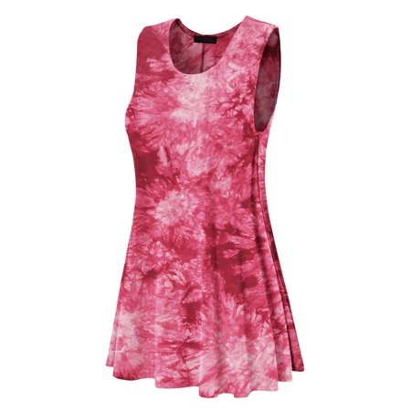 - Made by Johnny MBJ WDR1077 Womens Tie Dye Round Neck Sleeveless Trapeze Dress Tunic XXXL Wine