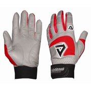 Professional Batting Gloves in Gray and Red (Extra Extra Large)