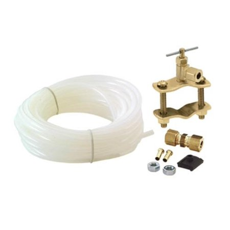 Low Density Polyethylene Tubing (48362 Polyethylene Tubing Icemaker Kit with Brass Inserts, White, DIMENSIONS: 1/2 x 25 Poly Tube; 1/4 Comp x comp union By)