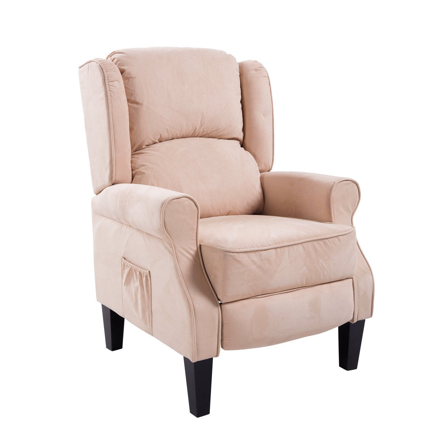 HOMCOM Personal Heated Vibrating Faux Suede Massage Recliner Chair - Cream White