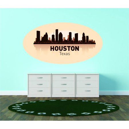 Custom City Wall Map - Custom Wall Decal Houston Texas United States Major City Geographical Map Landmark - Vinyl Wall - 12x20
