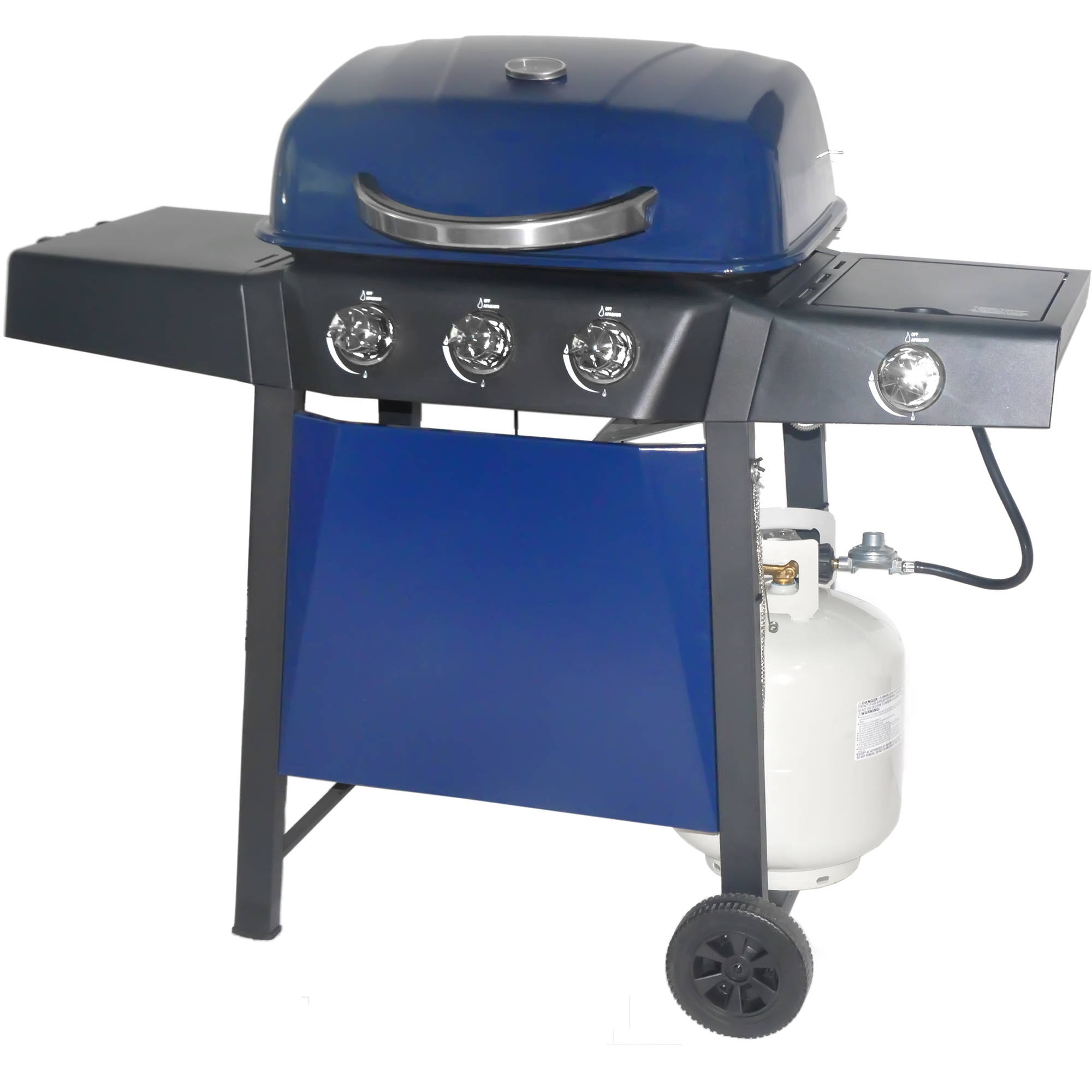 RevoAce 3-Burner LP Gas Grill with Side Burner, Blue Sapphire
