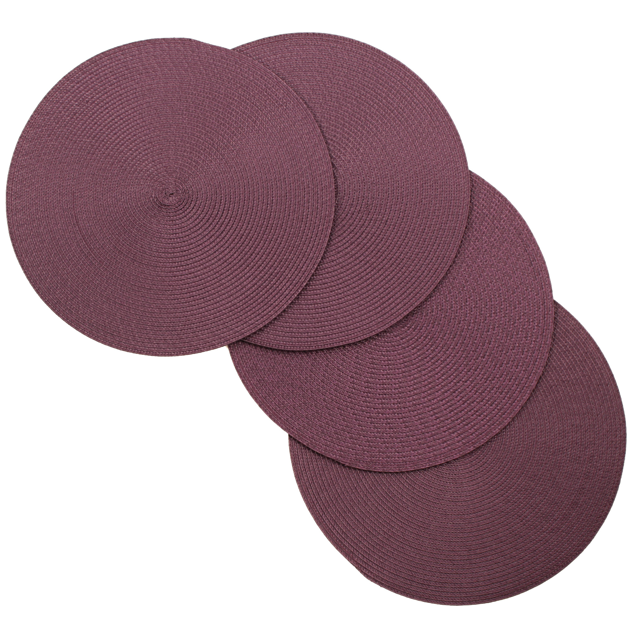 Vienna Woven Spiral Table Placemats 15 Inches Round Set of 4 Non-Slip Dining & Kitchen Table Mats Purple