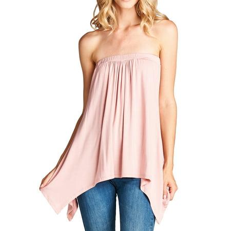 a807e2f4ca Loving People - Loving People Handkerchief Asymmetrical Hem Tube Top Flared Loose  Fit Strapless Tunic Shirt