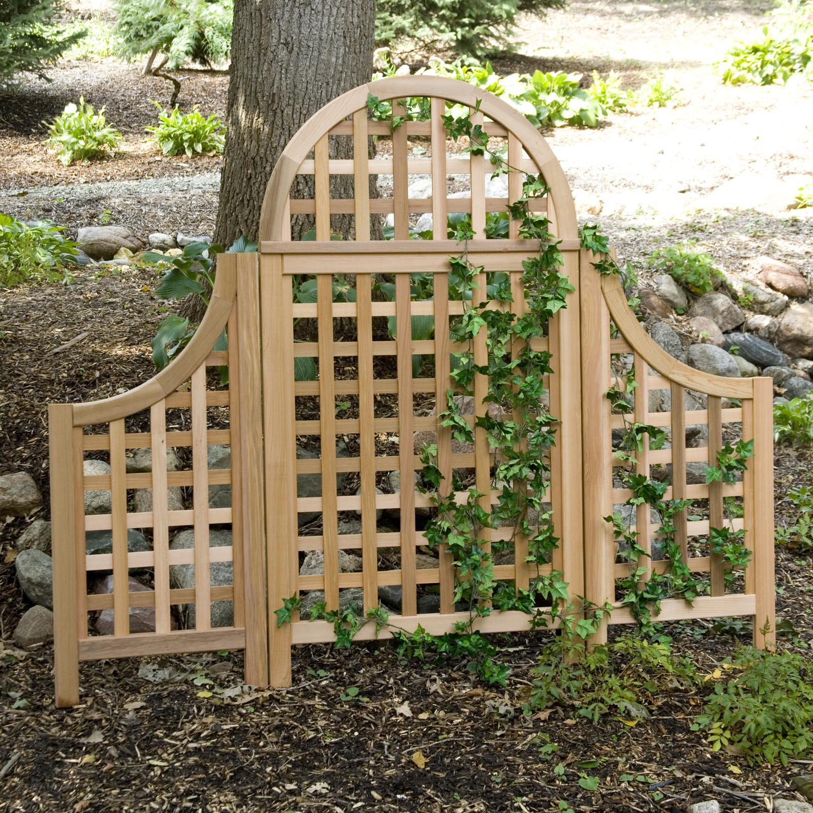 Arboria Andover 5 ft. Cedar Wood Arch Trellis with Optional Side Wings