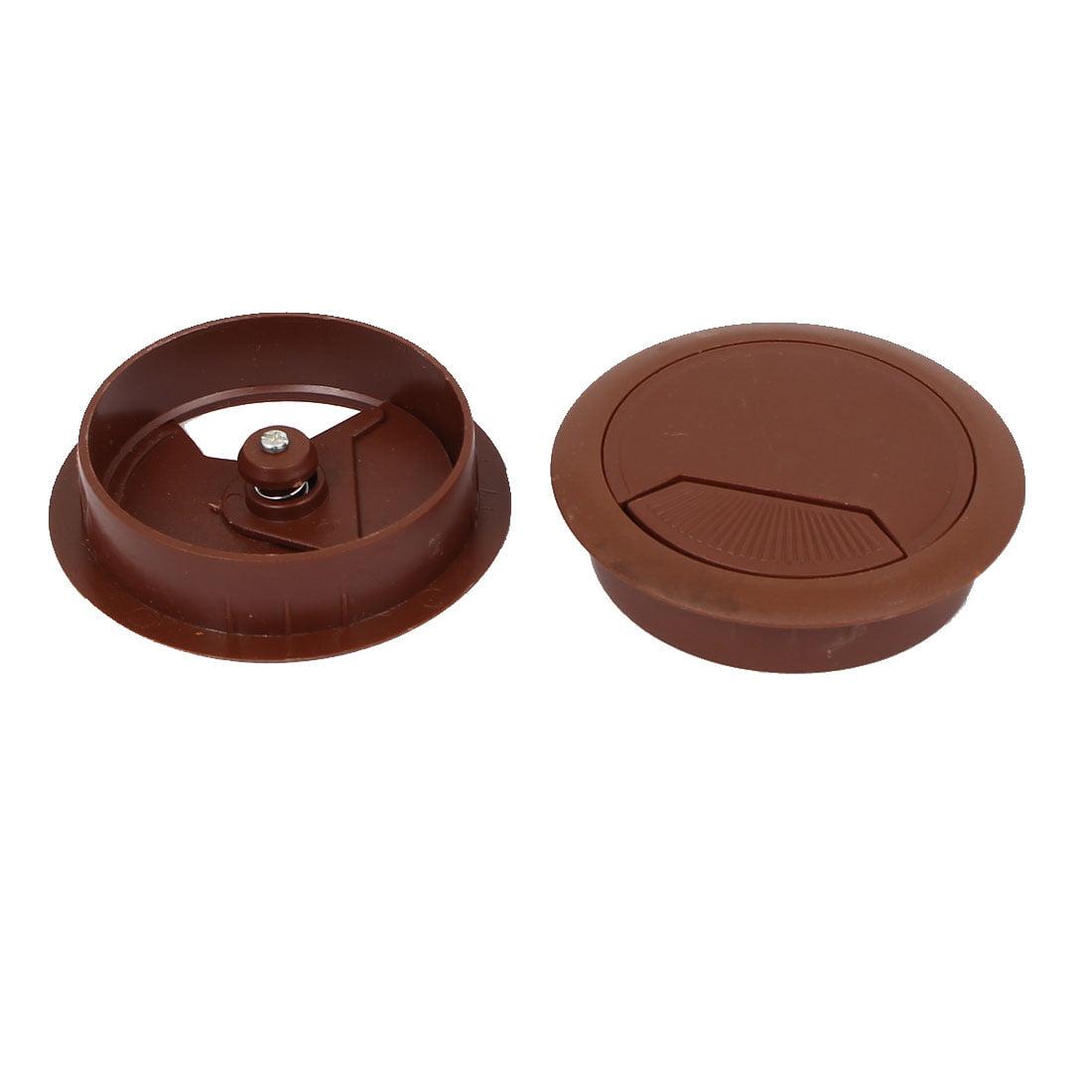 4 Pcs Office Computer Desk Plastic Cable Hole Cover Grommets Brown 60mm Diameter - image 2 of 3