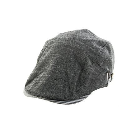 Linen Summer Beret Hat Duckbill Ivy Cap Cabbie Driving Casual Flat Black - Black Cabbie Hat