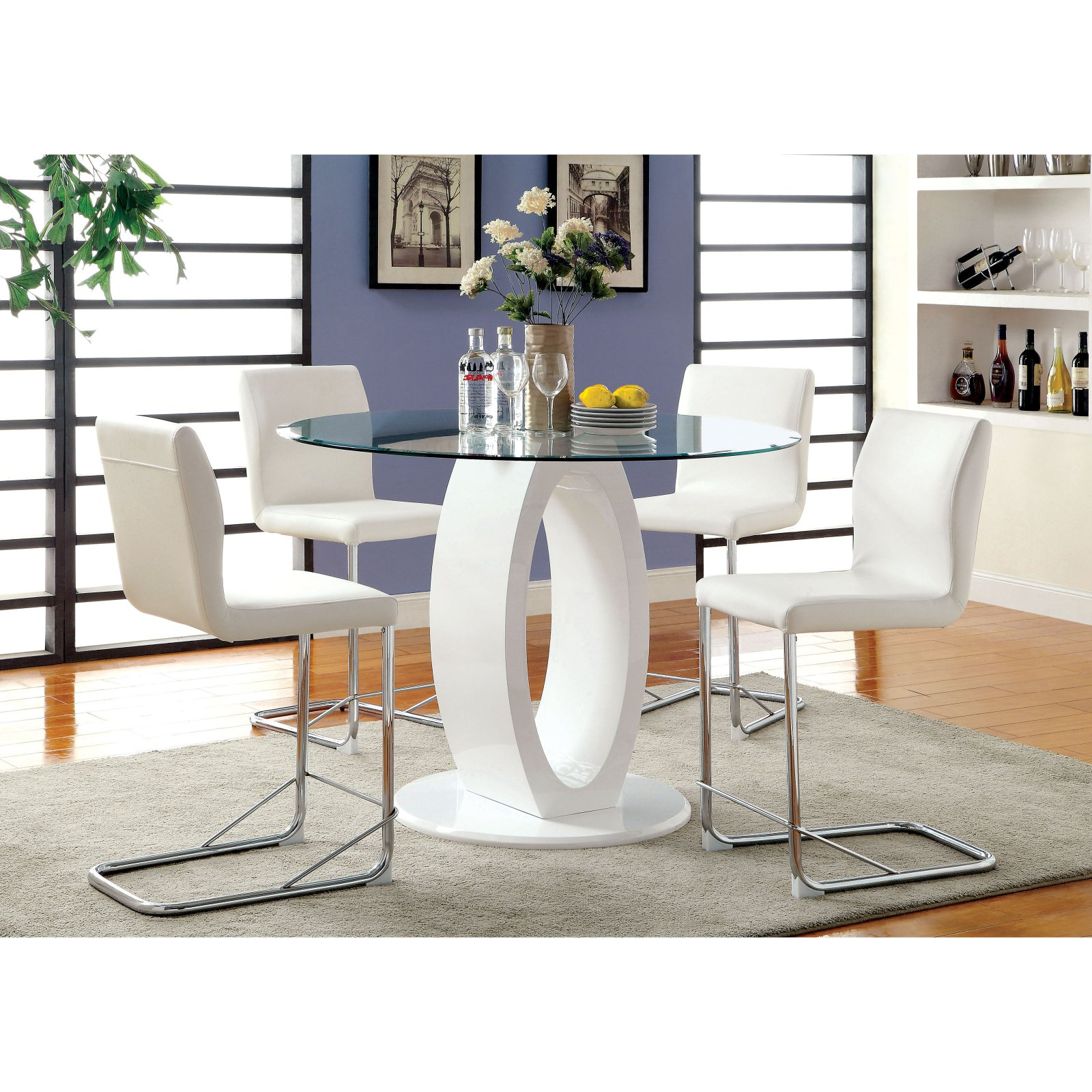 Furniture of America Damore Contemporary 5 Piece Counter Height High Gloss Round Dining Table Set - White