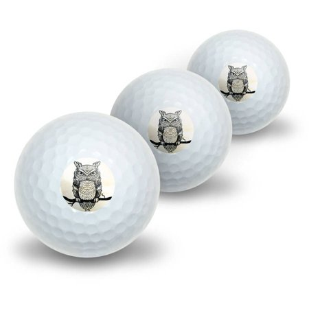 Owl Perched on Tree Branch Antique Rustic Tribal Bird Novelty Golf Balls, - Novelty Golf Balls