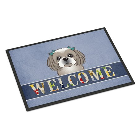 Gray Silver Shih Tzu Welcome Door Mat - Gray Shih Tzu