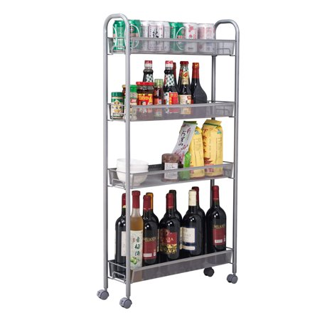 - 4-Tier Gap Kitchen Slim Slide Out Storage Tower Rack with Wheels, Cupboard with Casters - White, I5869