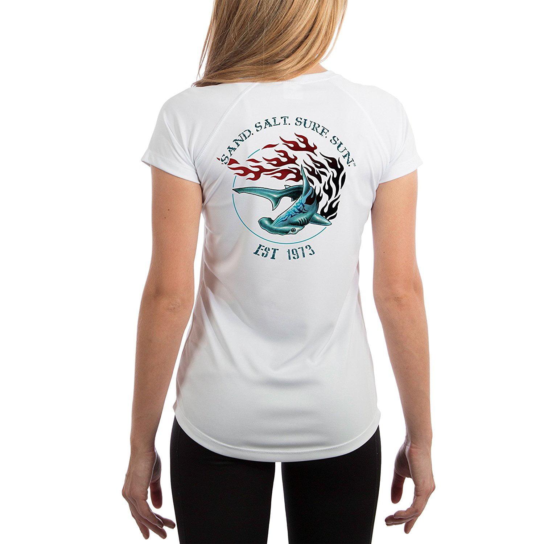 Flaming Shark Youth UPF 50 SAND.SALT.SURF.SUN Sun Protection Short Sleeve...