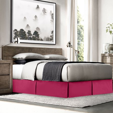 """Nestl Bedding Pleated Bed Skirt - Luxury Double Brushed 100% Microfiber Dust Ruffle, 14"""" inch Tailored Drop, Covers Bed Legs and Frame, Twin Size - Hot Pink (Double Ruffle Bedskirt)"""