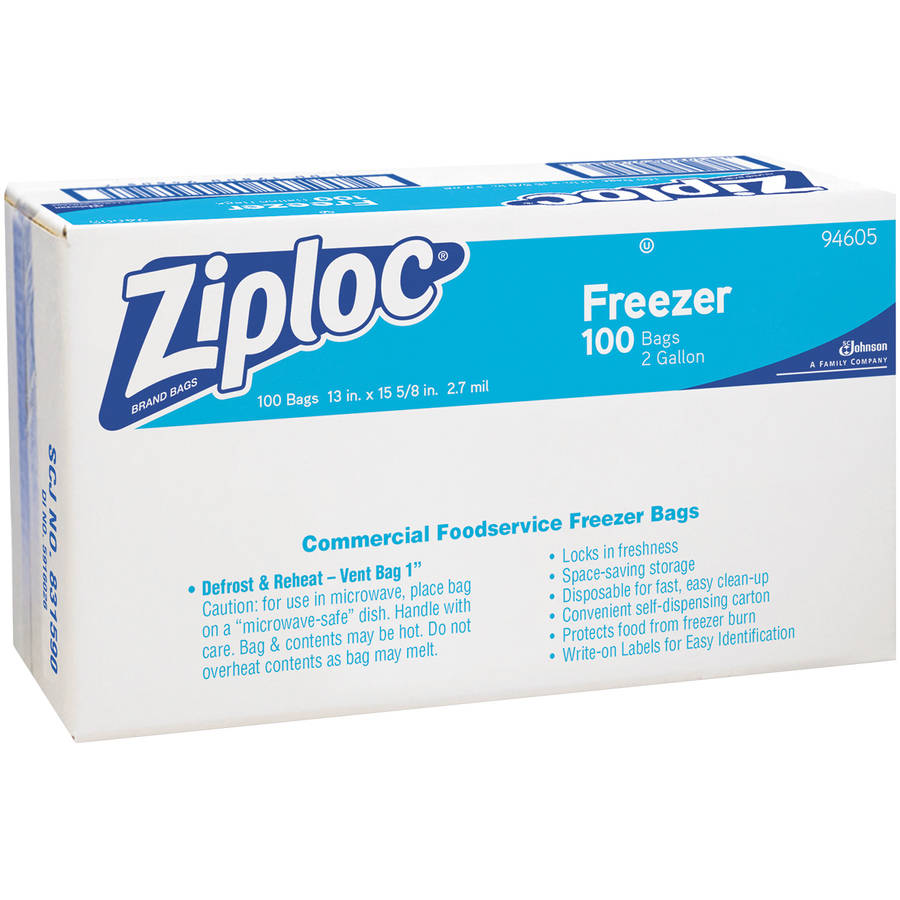 Ziploc 2 Gallon Freezer Bags, 100 count