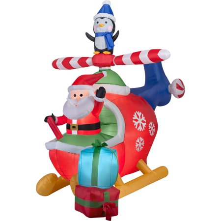 Gemmy Airblown Inflatables Christmas Inflatable Santa and Penguin in Helicopter Scene, 8'