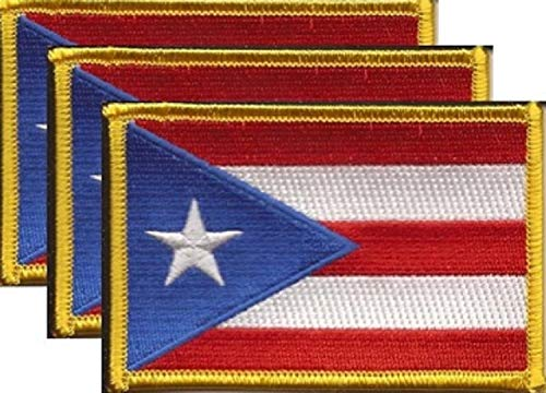 1 ONE PUERTO RICO STATE FLAG PATCH NEW EMBROIDERED w//VELCRO® Brand Fastener