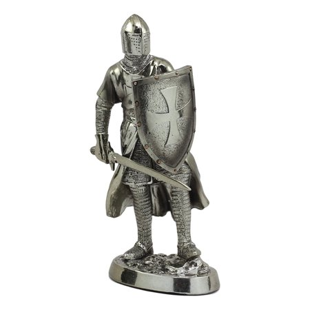 "Ebros Medieval Crusader Swordsman Knight Statue 7.5""Tall Suit of Armor Sculpture Decor Knight Of The Cross Heavy Infantry Unit Figurine"