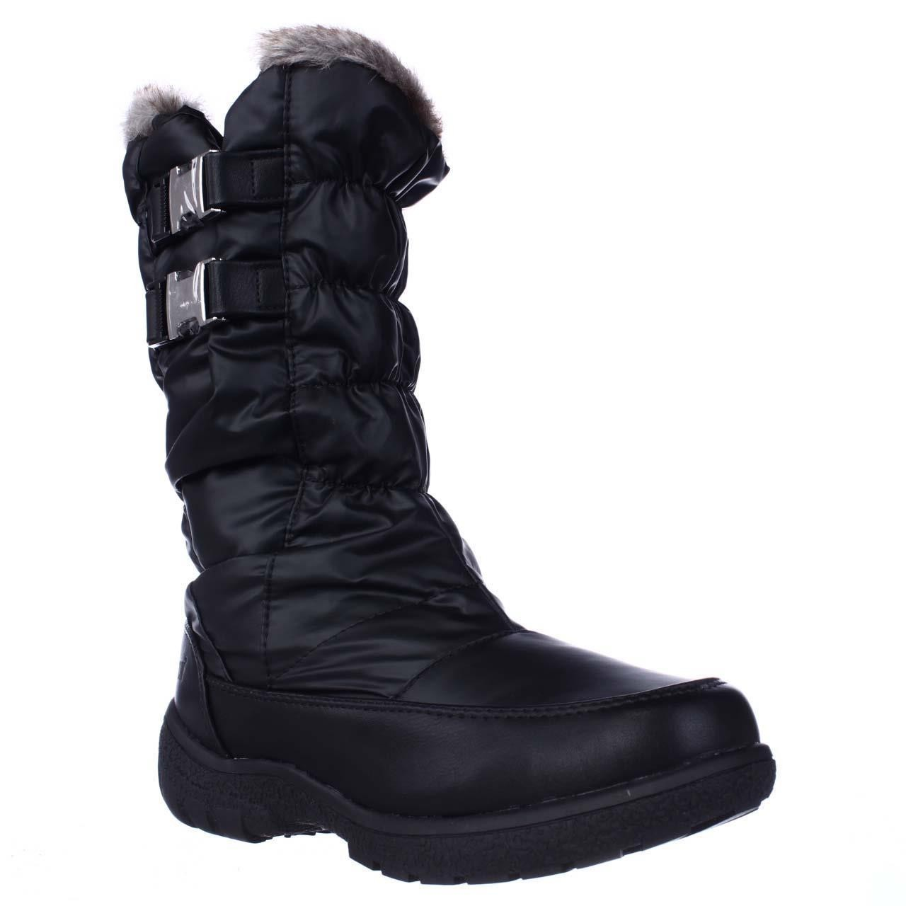 Womens Weatherproof Mikayla Mid Calf Buckle Shearling Lined Winter Boots Black by Winter Boots