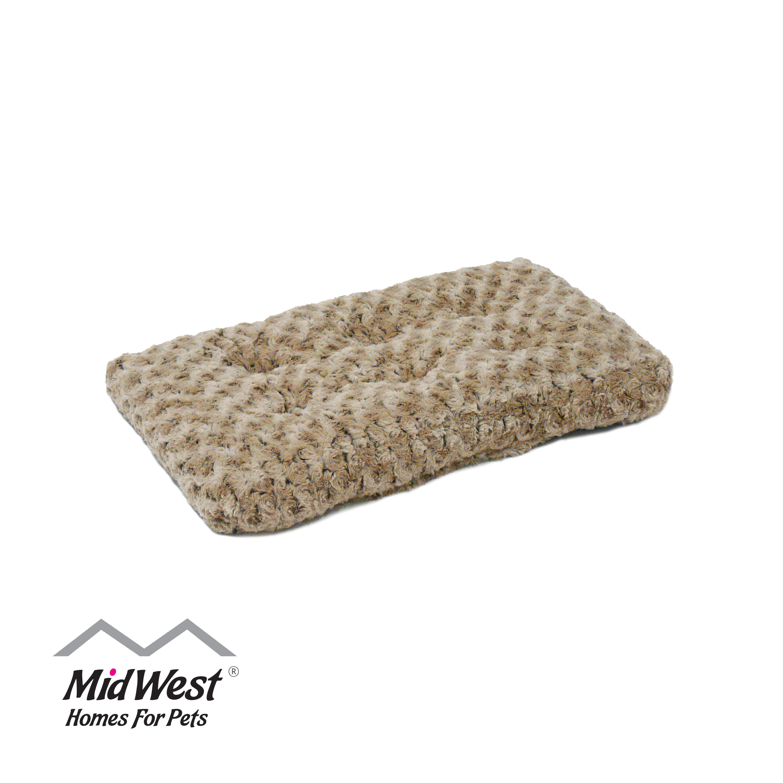 "MidWest Quiet Time Dog Bed & Crate Mat, Deluxe Ombre Swirl, 18"", Mocha"