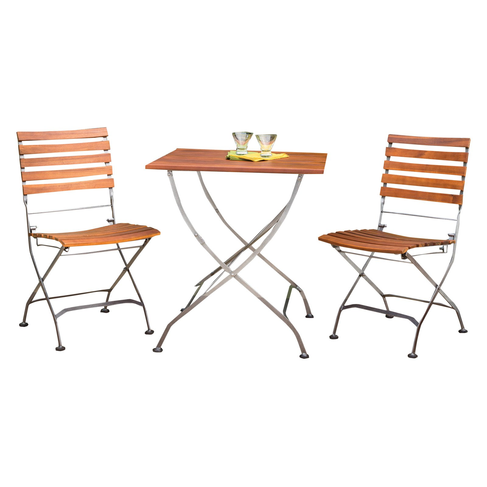Phat Tommy Galleria 3 Piece Square Folding Patio Bistro Set