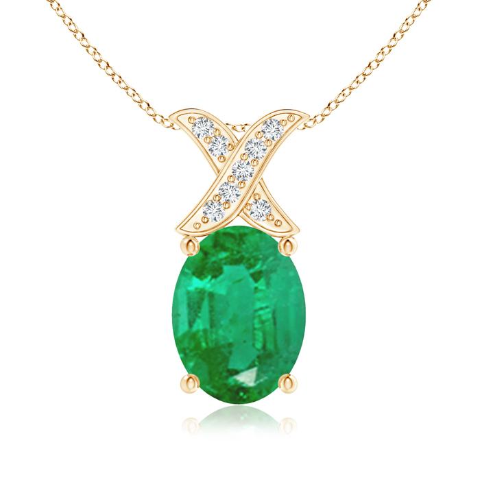 Angara Oval Emerald XO Pendant with Diamonds JLMd7N8qQp