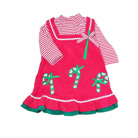 b81aa7f8d3a Infant Baby Girls Red Jumper Candycane Christmas Holiday Party Dress -  Walmart.com